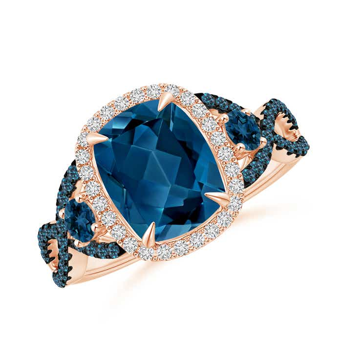 Angara Cushion London Blue Topaz Cocktail Ring with Diamond Halo b18KNNXz