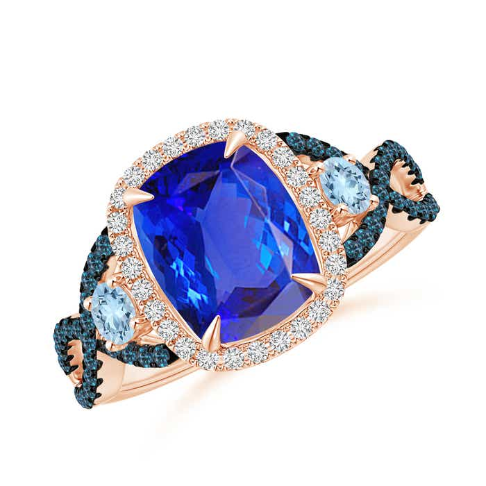 Angara Diamond Halo Blue Sapphire Crossover Engagement Ring in Rose Gold q5g88