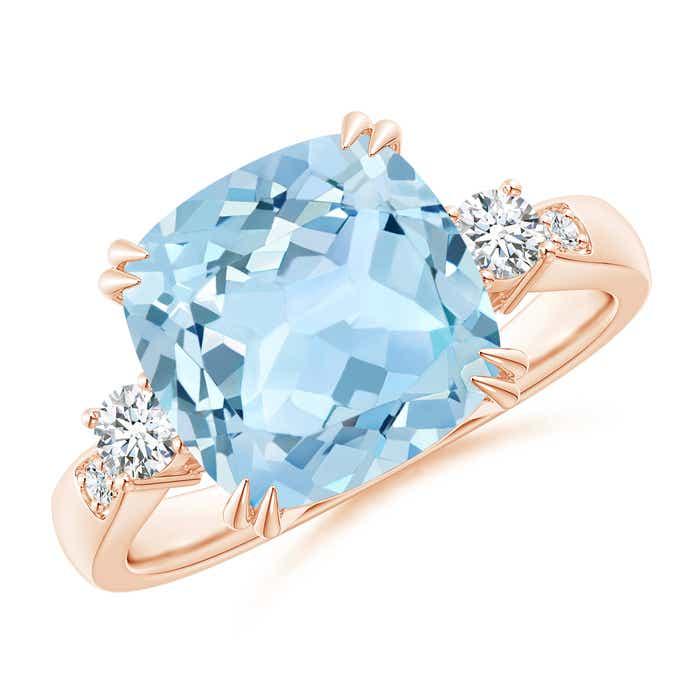 Angara Cushion Aquamarine Cocktail Ring with Diamond Accents