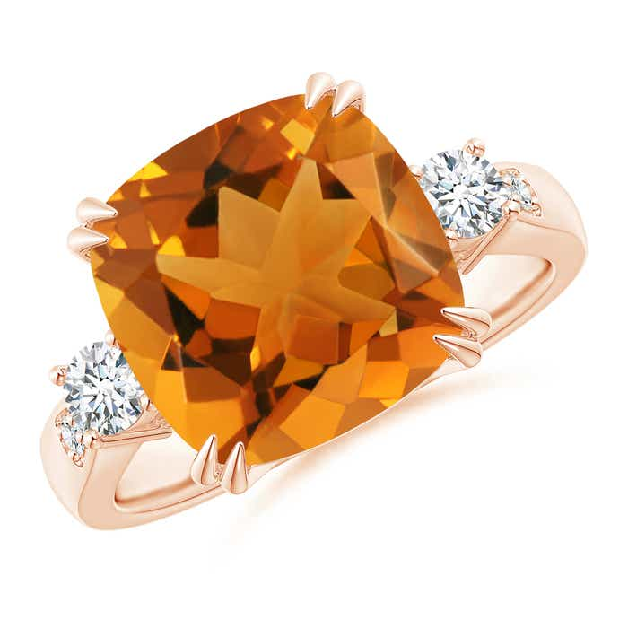 Angara Cushion Citrine Engagement Ring in Rose Gold