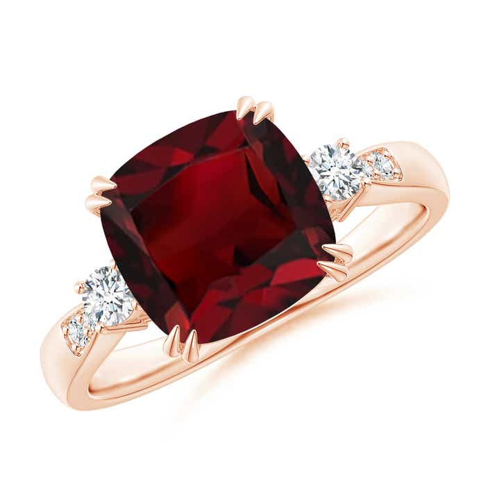 Angara Garnet Solitaire Ring with Diamond in Yellow Gold QegvH3tTP