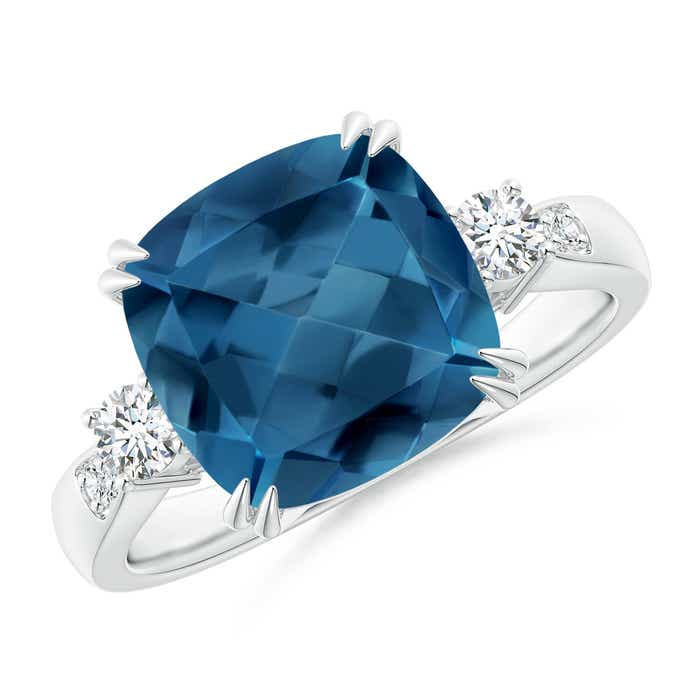 Angara Solitaire Cushion London Blue Topaz Ring with Trio Diamonds hfuTcHS