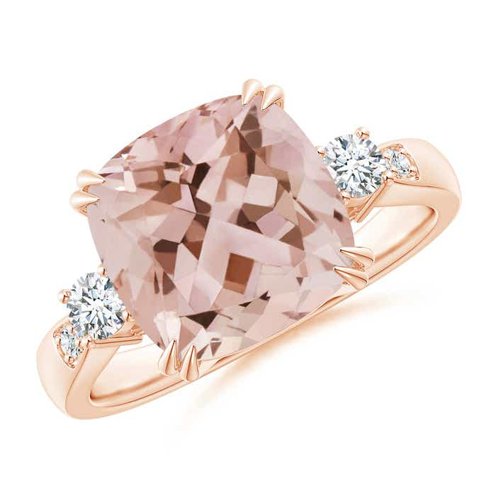 Angara Cushion Morganite Solitaire Ring with Diamond Accents YPVup