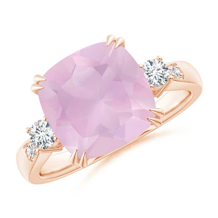 Angara Cushion Rose Quartz Solitaire Ring with Diamond Accents vbnXVlHxn