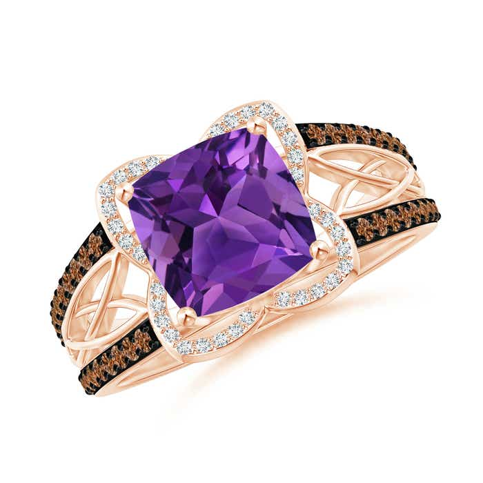 Angara Prong Set Round Amethyst Cocktail Ring HrbqQ