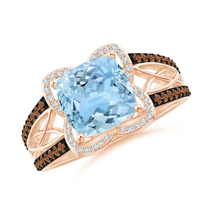 Angara Claw Cushion Aquamarine Diamond Triple Framed Cocktail Ring kVN83dDQ