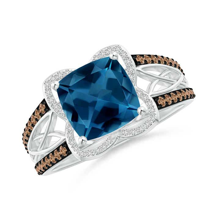 Angara Sugarloaf Cabochon London Blue Topaz Ring with Diamond Halo
