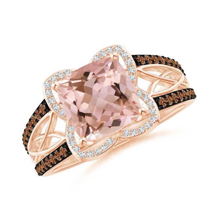 Angara Cushion Morganite Celtic Knot Cocktail Ring bfepemlK
