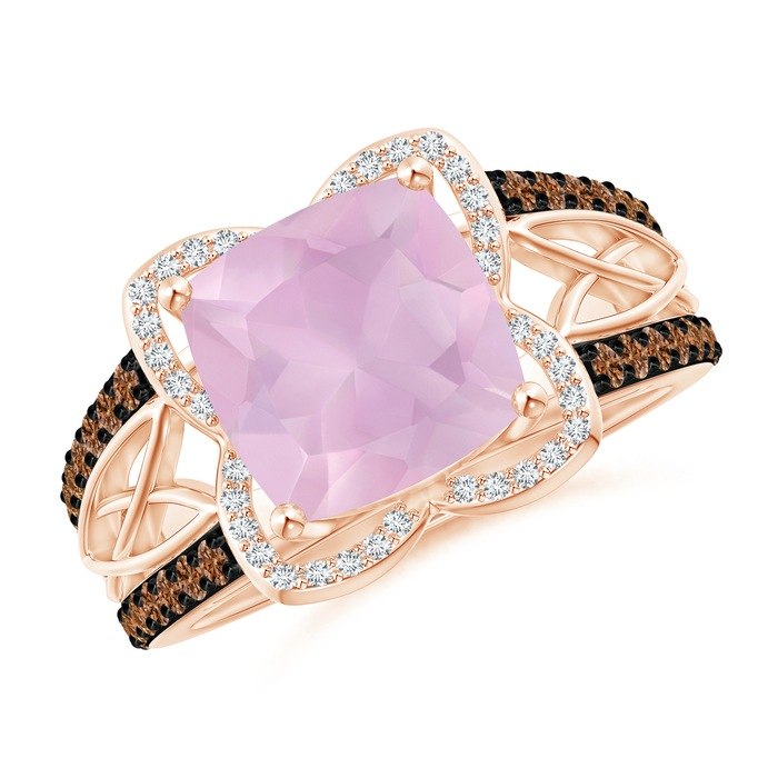Angara Cushion Rose Quartz Cocktail Ring with Black Diamond Halo W7RVT