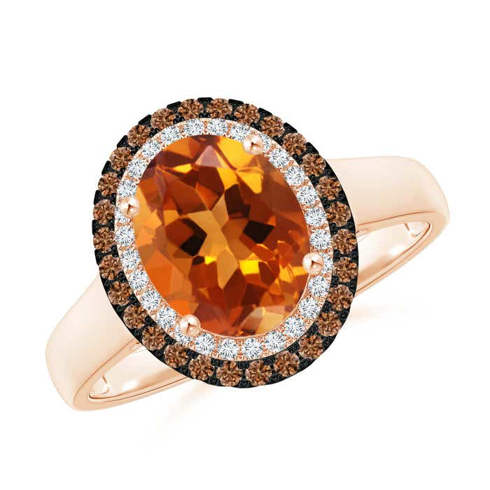 Angara Vintage Style Double Halo Oval Citrine Ring