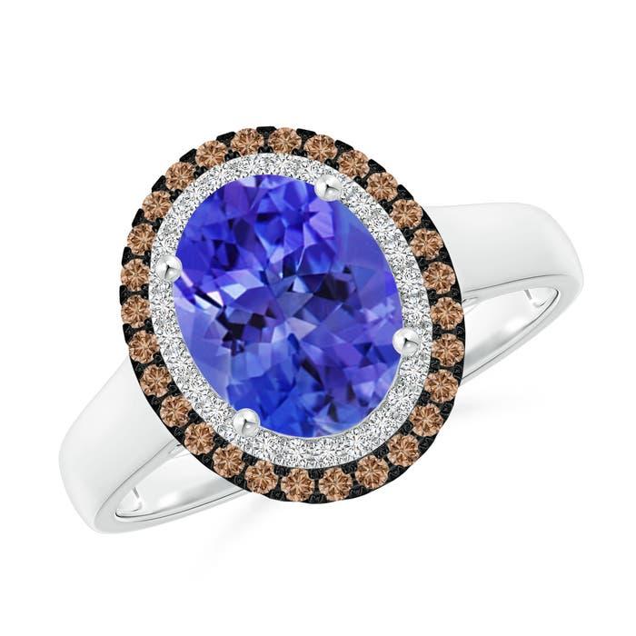 Angara Vintage Style Double Halo Oval Tanzanite Ring ObKTVJ