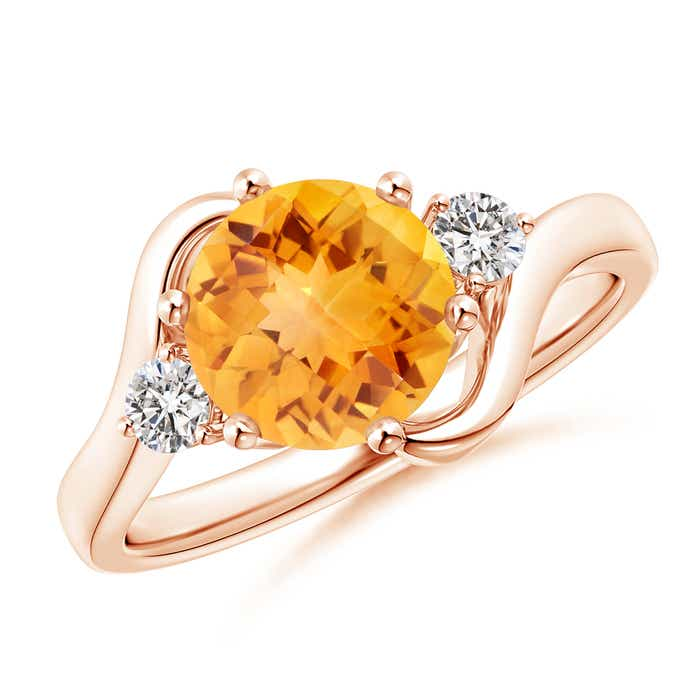 Angara Three Stone Citrine Diamond Engagement Ring in White Gold