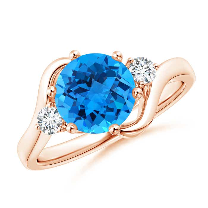Angara Floating Three Stone Swiss Blue Topaz Ring with Diamond Halo