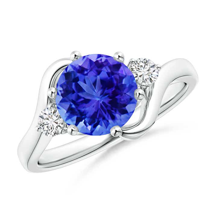 Angara Prong Set Round Tanzanite and Diamond Three Stone Ring in Yellow Gold Z8BHDjgmB
