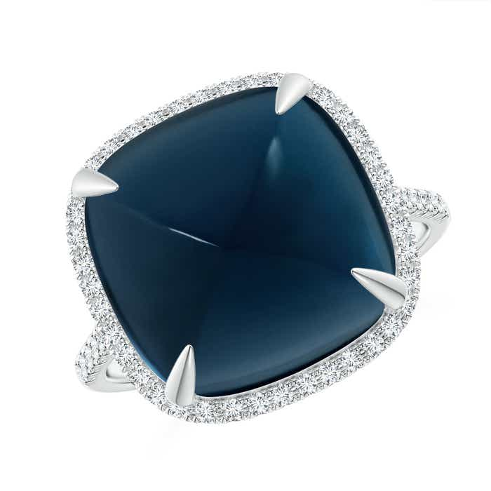 Angara Cushion London Blue Topaz Halo Ring with Clover Motif YbaeDg