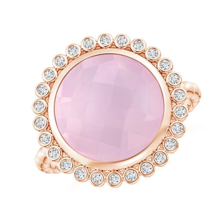 Angara Bezel-Set Round Rose Quartz Ring with Beaded Shank IggunpiX