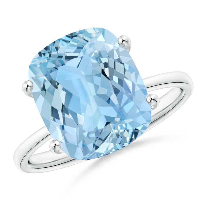 Angara Cushion Aquamarine Solitaire Vintage Ring in White Gold xxIrl