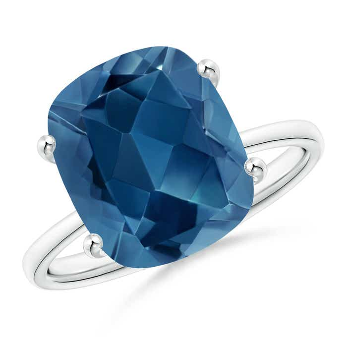 Angara Cushion London Blue Topaz and Diamond Ring in White Gold