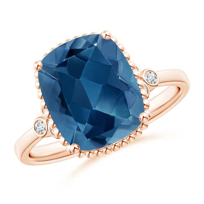Angara Cushion London Blue Topaz Beaded Halo Ring with Diamonds 80ZesxX