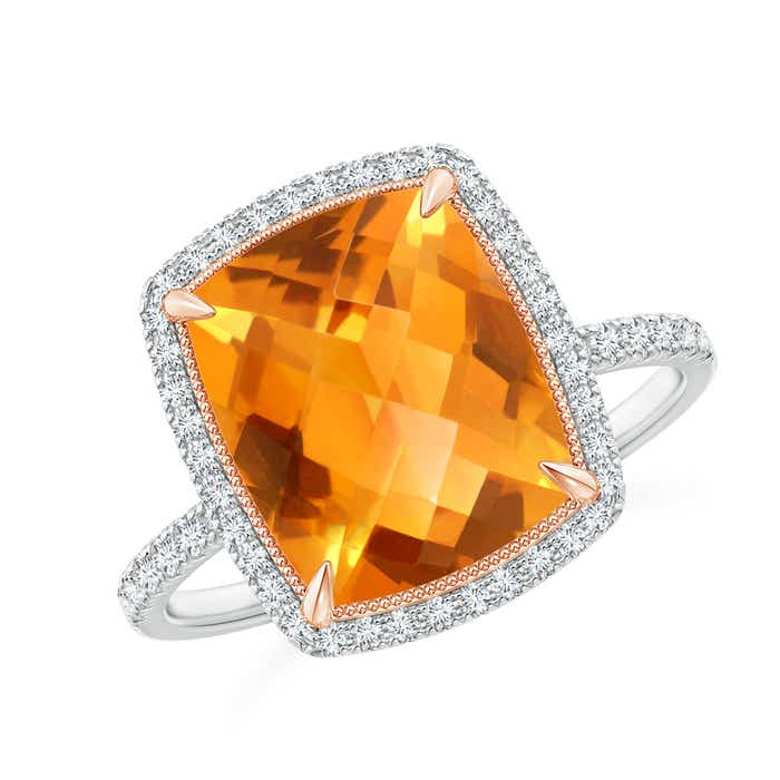 Angara Cushion Citrine and Diamond Halo Ring in Two Tone
