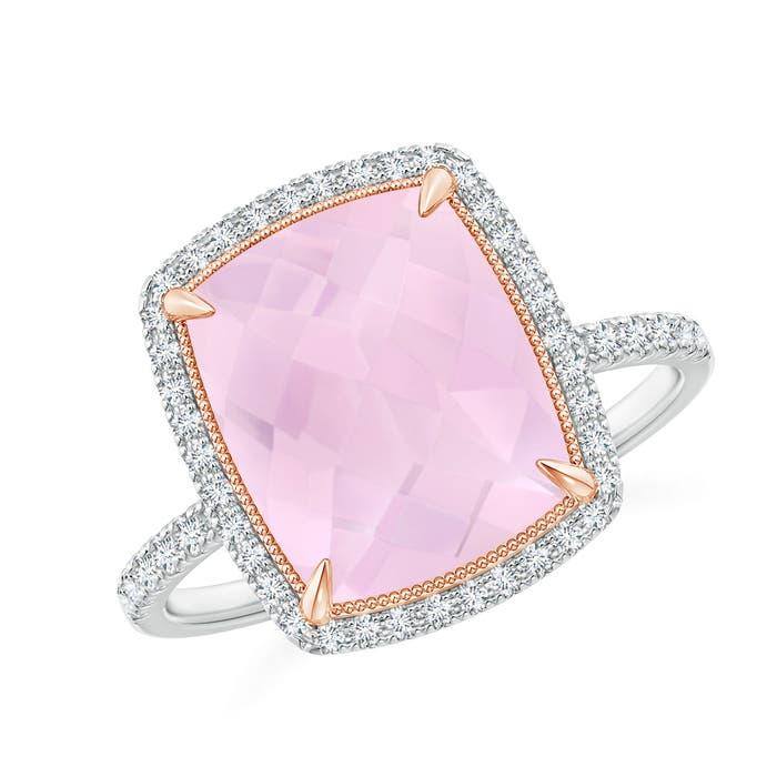 Angara Round Rose Quartz Cocktail Ring with Diamond Halo S5Pwbb