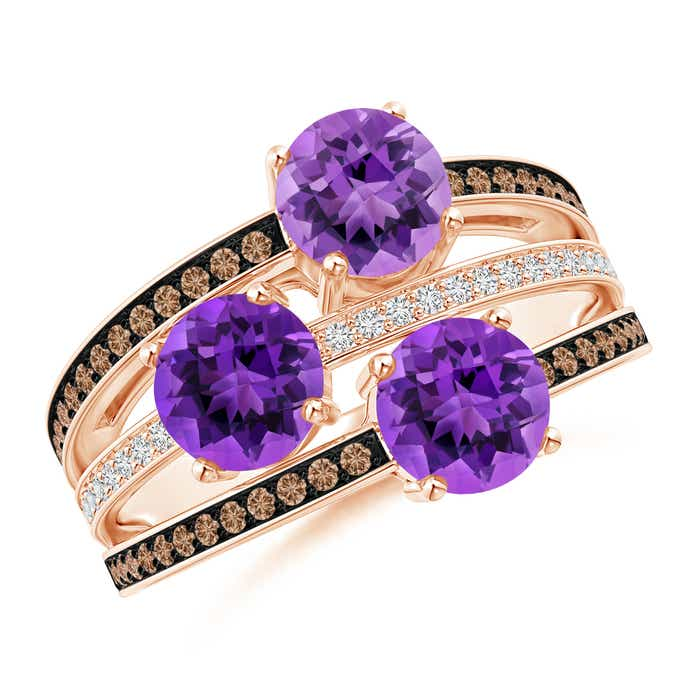Angara Round Amethyst Three Stone Multi Row Ring 7zPbh9