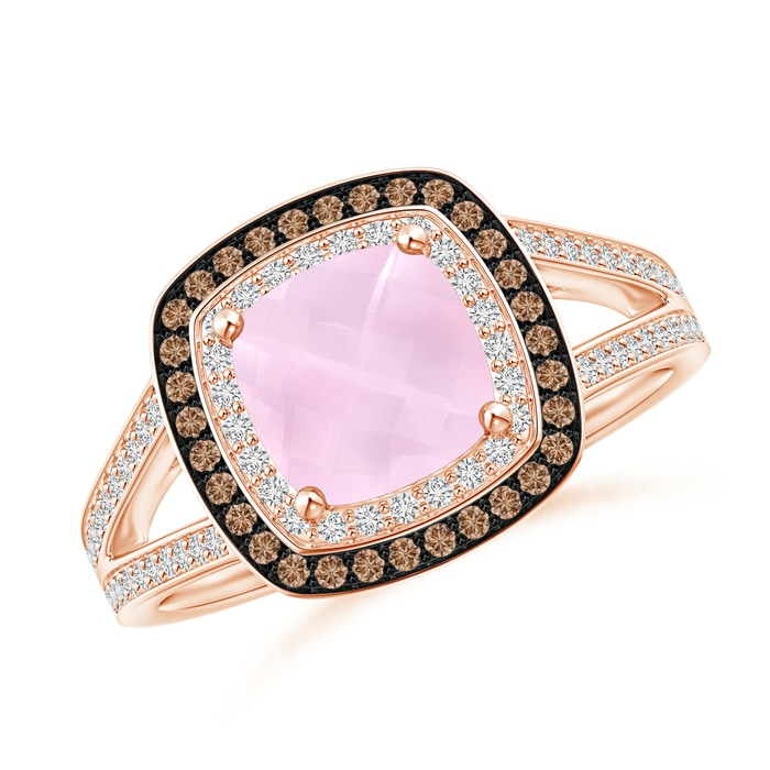 Angara Cushion Rose Quartz Halo Ring with Clover Motif du86V8i98