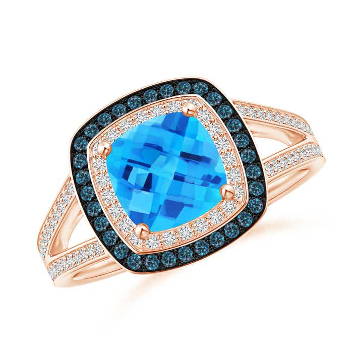 Angara Cushion Swiss Blue Topaz Split Shank Ring with Double Halo