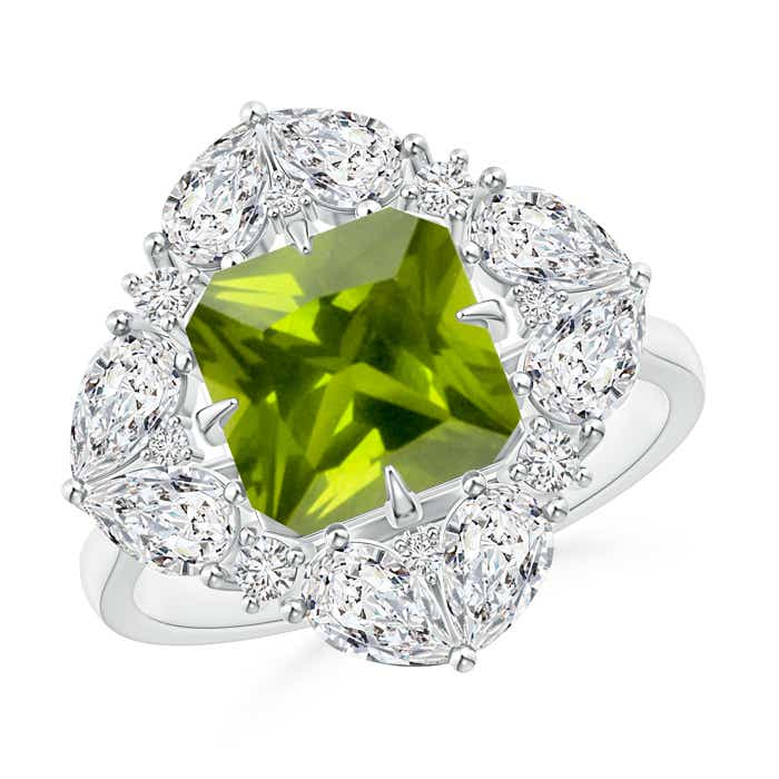 Angara Classic Peridot Triple Cluster Ring in White Gold KnsaUM