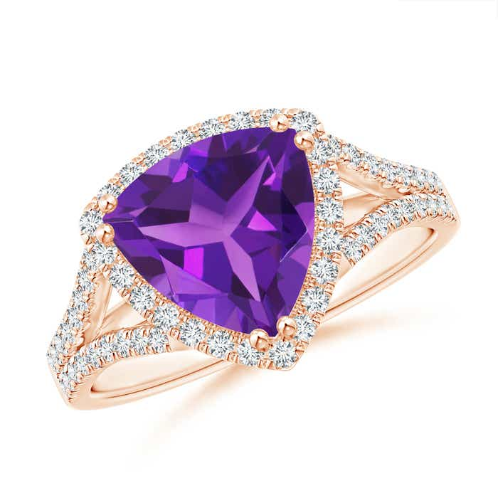 Angara Trillion Amethyst Cocktail Ring with Diamond Accents ELHLY