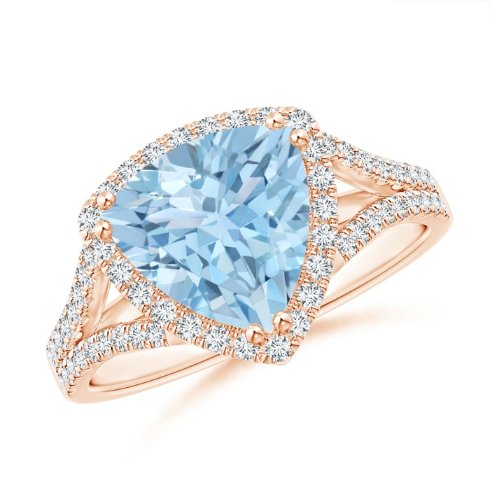 Angara Trillion Aquamarine Solitaire Ring with Diamond Accents 3v9KV