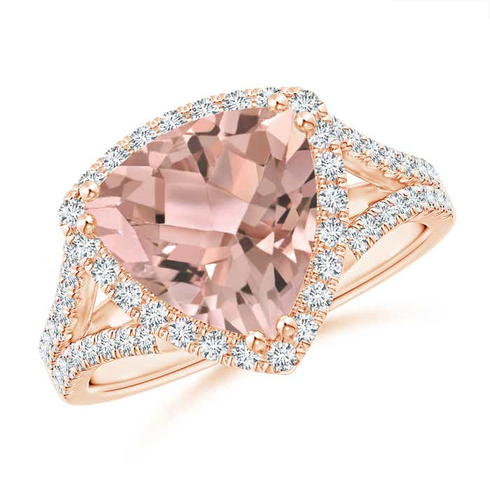 Angara Trillion Morganite Cocktail Ring with Diamond Accents SaEO2KoGr1