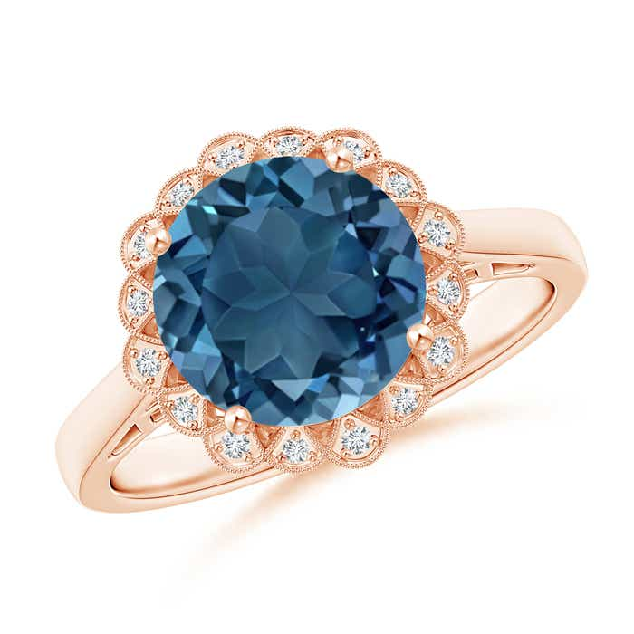 Angara Vintage Style London Blue Topaz Cocktail Ring with Diamond Halo EA1Ht