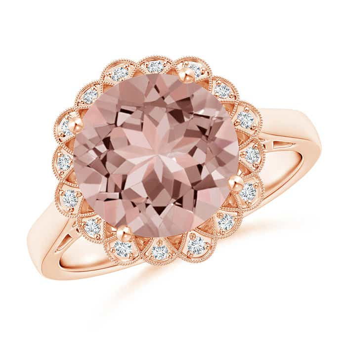 Angara Vintage Style Morganite Cocktail Ring with Floral Halo