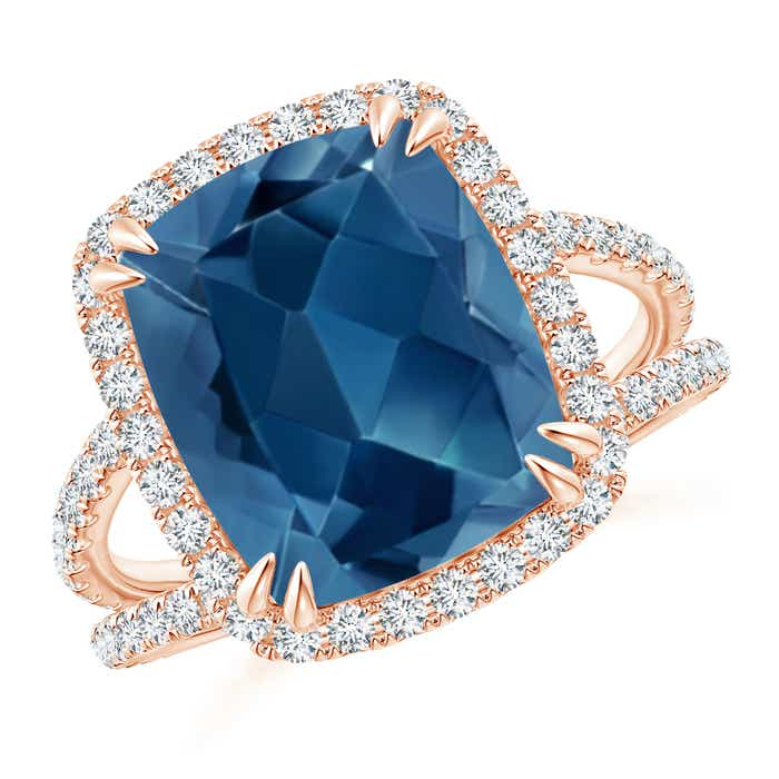 Angara Vintage Inspired Cushion London Blue Topaz Halo Ring nsKRwBXnAk