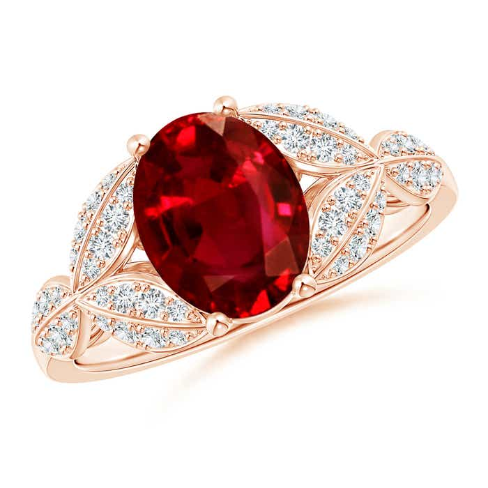 Angara Diamond Engagement Ring with Ruby Side Stones in White Gold 4oDPB