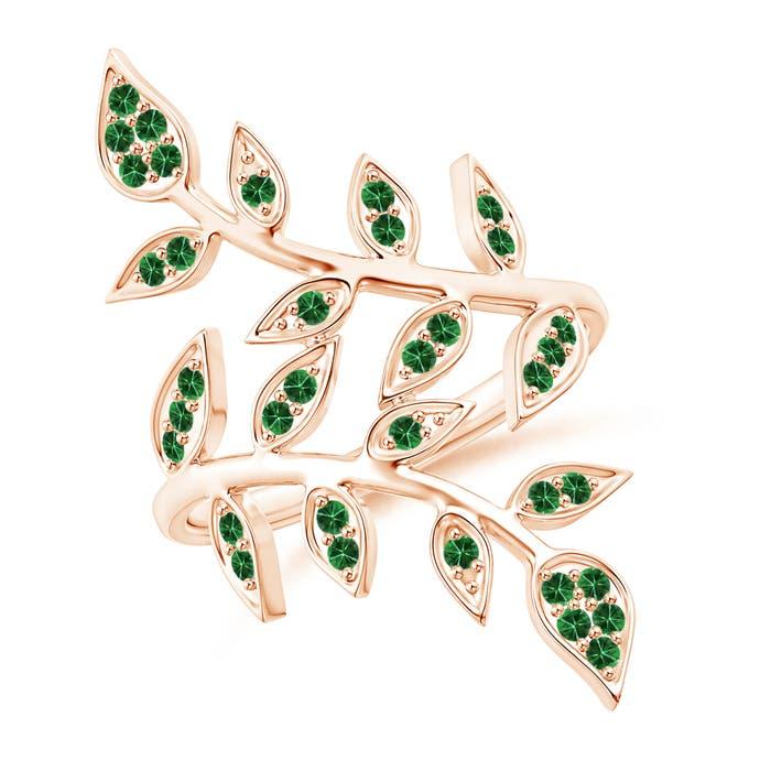 Angara Pave Set Tsavorite Olive Leaf Vine Ring 0sYTdd
