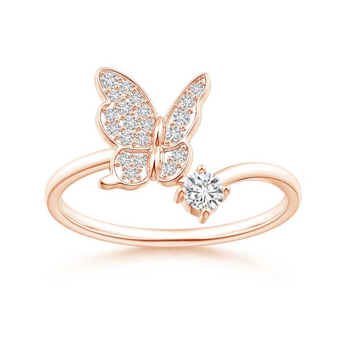 Angara Coffee and White Diamond Butterfly Bypass Ring B9Eem7