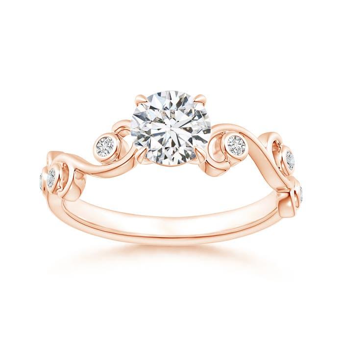 Angara Emerald and Diamond Ivy Scroll Ring R66eK9