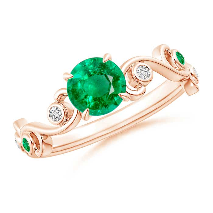Angara Pave Set Emerald Olive Leaf Vine Ring