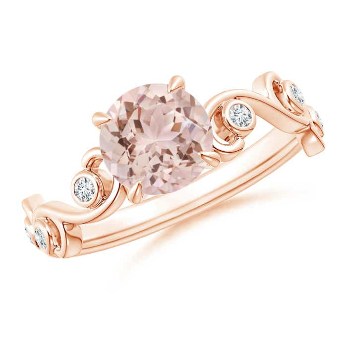 Angara Morganite Diamond Band Ring Set in Platinum R9p88rmf
