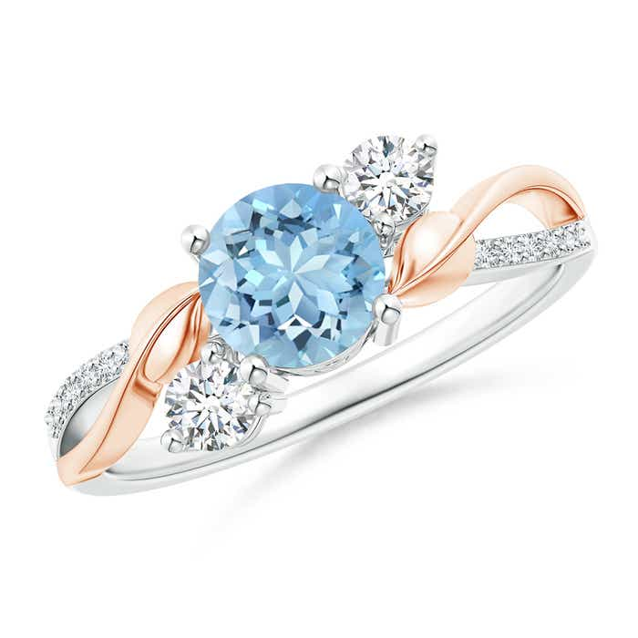 Angara Diamond Ring with Sapphire Side Stones in Rose Gold at9Va