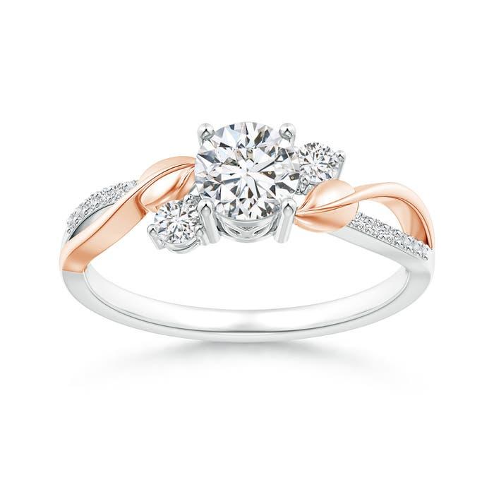 Angara Three Stone Diamond Twisted Vine Ring EvVCpK