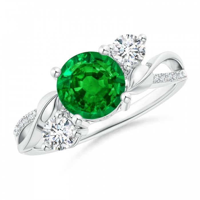 Angara Emerald Ring - GIA Certified Emerald Triple Shank Floral Halo Ring NPFWo9H