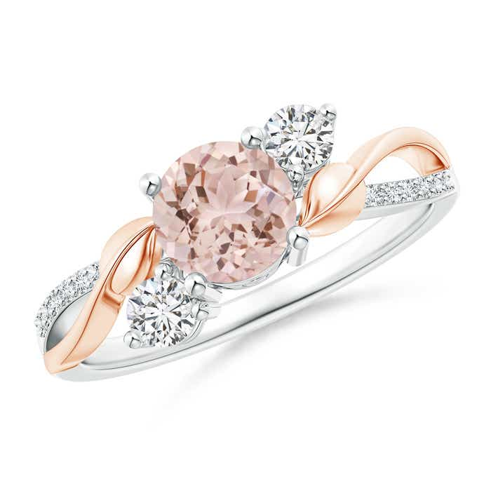 Angara Three Stone Morganite Diamond Engagement Ring in Platinum