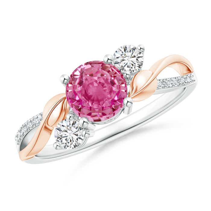 Angara Pink Sapphire and Diamond Three Stone Engagement Ring in Yellow Gold zjptzcEAL