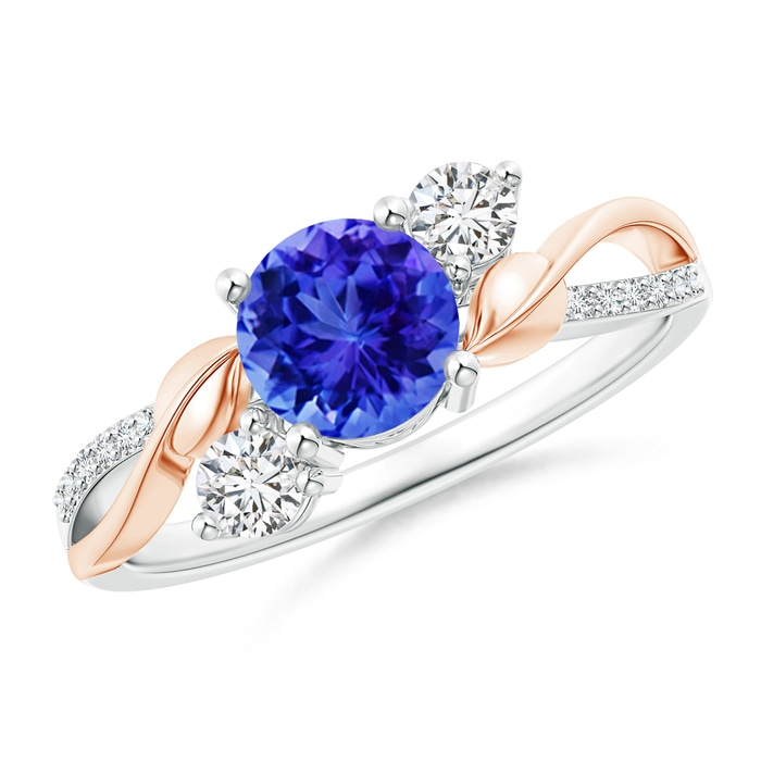 Angara Tanzanite and Diamond Twisted Vine Ring fdY3Ky