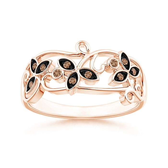 Angara Pave Set Round Brown Diamond Cluster Disc Ring S1RcuKjsBF