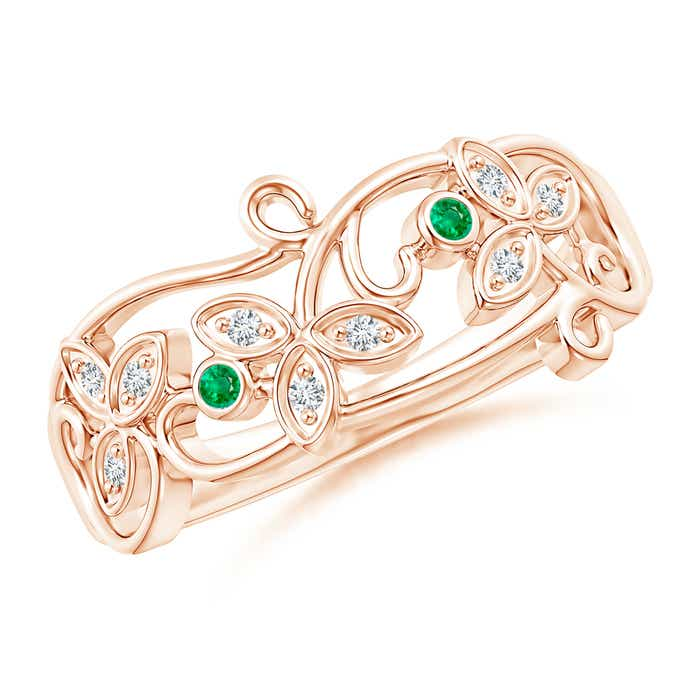 Angara Vintage Inspired Cushion Emerald Halo Ring with Leaf Motifs rXdVpVV