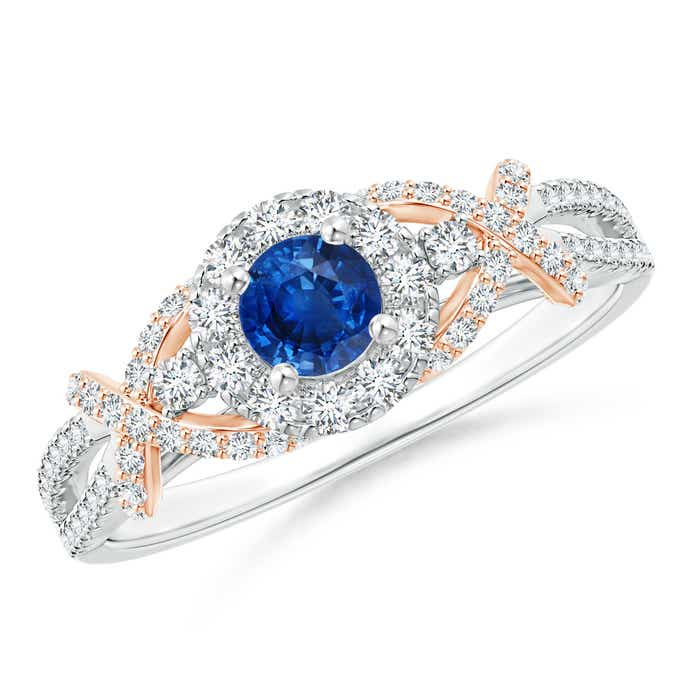 Angara Vintage Inspired Sapphire and Diamond Ring in White Gold 40Y8w9MT3Q